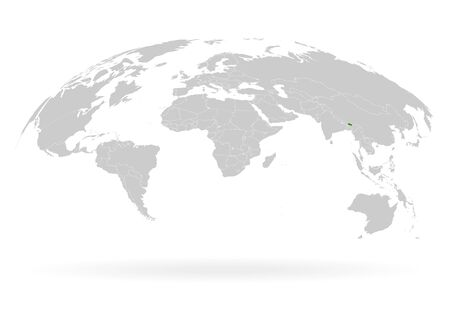Territory of Bhutan. Planet Earth. The Earth, World Map on white background. Vector illustration. EPS 10