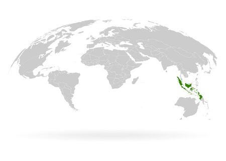 Territory of Indonesia. Planet Earth. The Earth, World Map on white background. Vector illustration. EPS 10