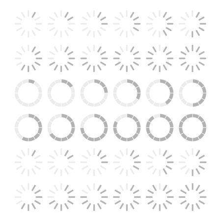 Collection of loading progress bars. Circle shape. White background. Vector illustration.