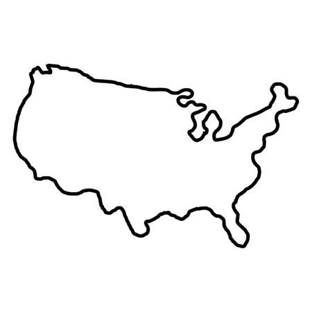 Territorio de los Estados de América sobre fondo blanco. América del norte. Ilustración de vector.