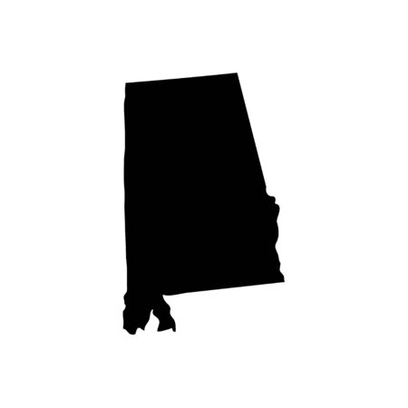 Alabama - US state. Territory in black color. Vector illustration. EPS 10
