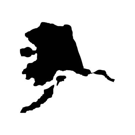 Alaska - US state. Territory in black color. Vector illustration. 일러스트