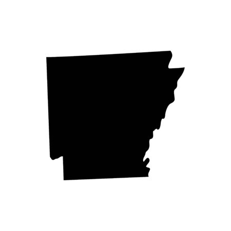 Arkansas - US state. Territory in black color. Vector illustration. EPS 10 일러스트
