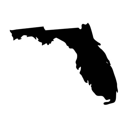Florida - US state. Territory in black color. Vector illustration 일러스트