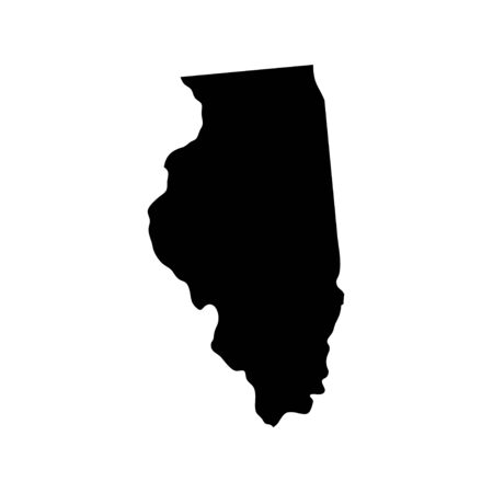 Illinois - US state. Territory in black color. Vector illustration. 일러스트