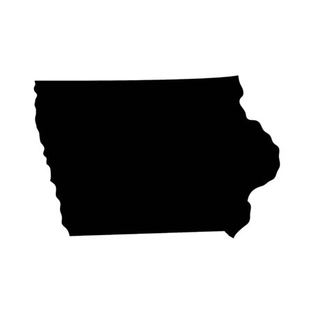 Iowa - US state. Territory in black color. Vector illustration.