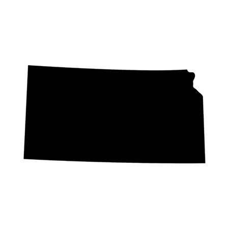 Kansas - US state. Territory in black color. Vector illustration. EPS 10