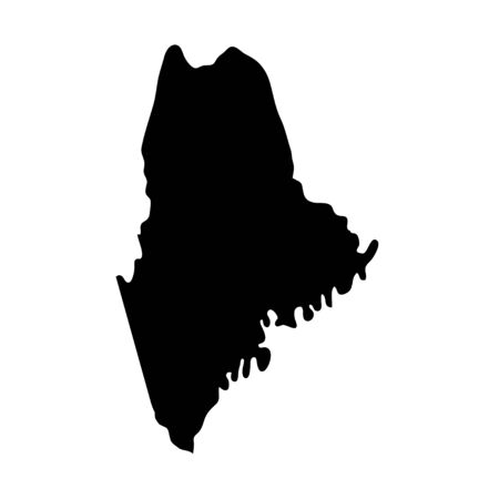 Maine - US state. Territory in black color. Vector illustration.