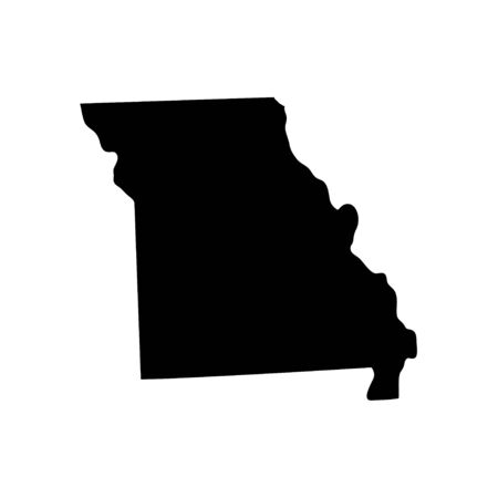 Missouri - US state. Territory in black color. Vector illustration. EPS 10