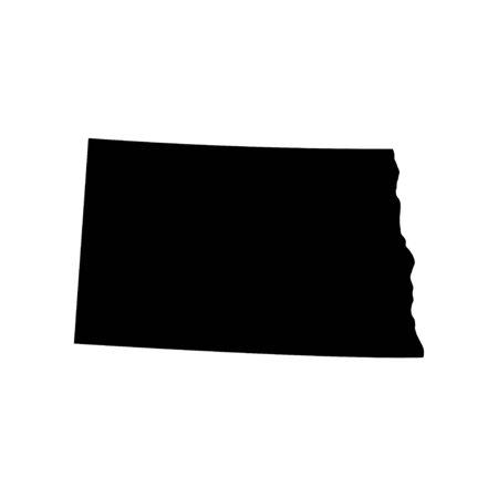 North Dakota - US state. Territory in black color. Vector illustration.