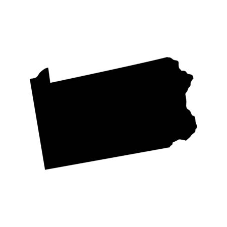 Pennsylvania - US state. Territory in black color. Vector illustration. EPS 10