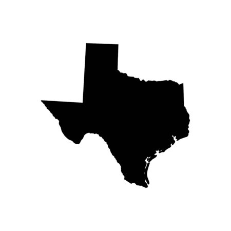 Texas - US state. Territory in black color. Vector illustration. EPS 10