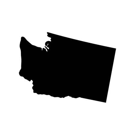 Washington - US state. Territory in black color. Vector illustration. EPS 10 일러스트