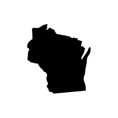 Wisconsin - US state. Territory in black color. Vector illustration. EPS 10 Ilustração