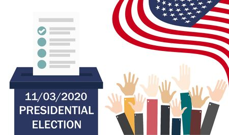 United States Presidential Election. November 3, 2020. Do the choice. Voting. Ballot box. Candidate elections. Vector illustration. EPS 10