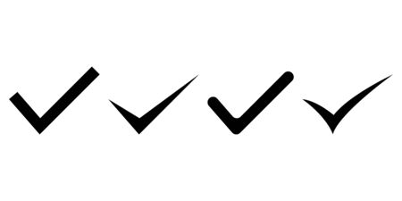 Collection of check mark signs. Confirmation mark. Vector illustration. EPS 10