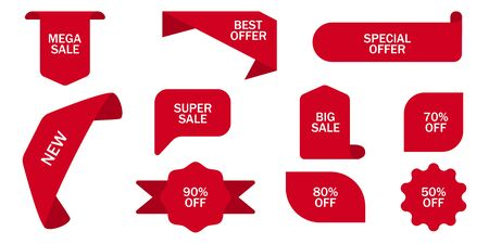 Sale tag, discount sign. Red ribbon tags. Percentage sign. Vector illustration. EPS 10