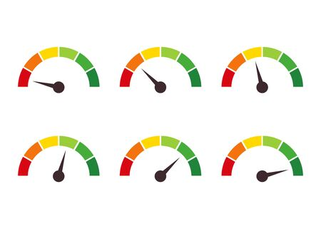 Collection of speedometer, tachometer, indicator icons. Performance measurement. White background. Vector illustration. EPS 10
