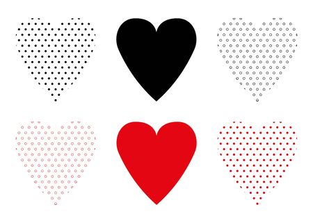 Collection of heart forms. Design element for wallpapers, wedding invitations, greeting cards, valentine cards. Vector illustration. EPS 10
