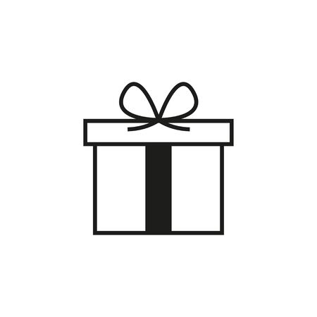 Gift box with ribbon. White background. Vector illustration. EPS 10