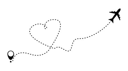 Airplane with heart shape line path. Aircraft flying in the sky. Airplane flight route with line trace. Vector illustration. EPS 10 일러스트