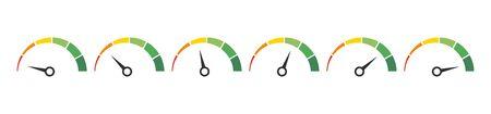 Speedometer, tachometer, indicator icons. Performance measurement. White background. Vector illustration. EPS 10 Vector Illustration