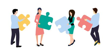 Business Analytics concept. People are connecting puzzle elements. Isometric projection. Vector illustration. EPS 10