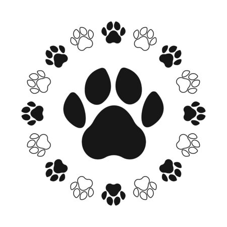Paw print. Footprint silhouette on white background. Vector illustration.