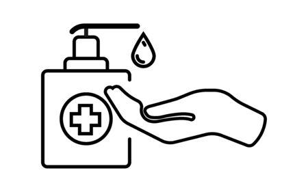 Hand sanitizer. Disinfector icon. Coronavirus Covid-19 prevention. Virus protection. Antibacterial liquid. Vector illustration. Иллюстрация