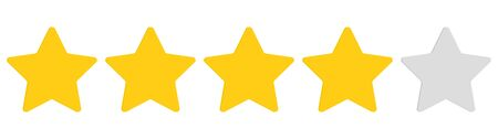 Rating stars. Five stars customer product rating review. Ranking symbol. Vector illustration. EPS 10