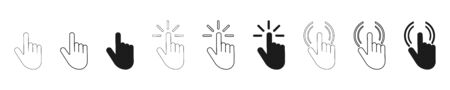 Push button. Hand icon on white background. Cursor of computer mouse. Vector illustration. EPS 10