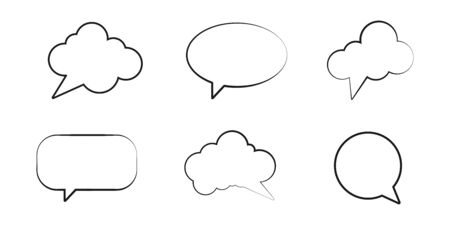 Set of empty speech bubbles with different shapes. Vector illustration. EPS 10