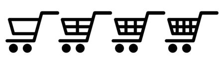 Collection of shopping trolleys, cart on white background. Vector illustration. EPS 10