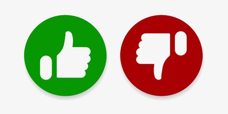 Thumbs up and thumbs down icons on white background. Social media icons. Vector illustration. EPS 10