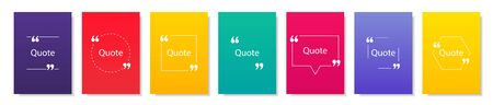 Collection of quote box frames and icons. Text in brackets. Blank template of quote remarks. Empty speech and quote bubbles of different forms. Textbox on color background. Ilustración de vector