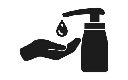 Hand sanitizer. Disinfector icon. Coronavirus Covid-19 prevention. Virus protection. Antibacterial liquid. 矢量图像