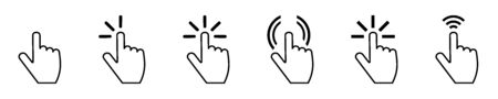 Push button. Hand icon on white background. Cursor of computer mouse. 일러스트