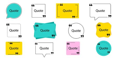 Collection of quote box frames and icons. Text in brackets. Blank template of quote remarks. Empty speech and quote bubbles of different forms. Textbox on color background. Vector illustration. EPS 10