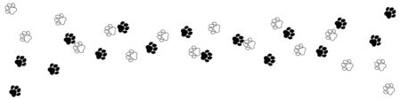 Paw print. Footprint silhouette on white background. Vector illustration. EPS 10