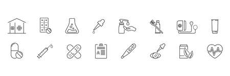 Set of outline icons about pharmacy, medicine. Simple symbols with black color contour.