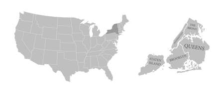 States of America territory on white background. Separate state. New York state. Separate boroughs. Vector illustration 일러스트