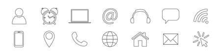 Business process, finance outline icons. Simple black symbols.