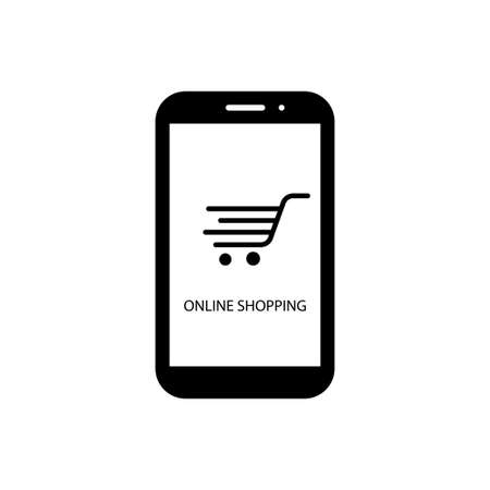 Online shopping and delivery. Shopping trolley, cart on white background. Simple black symbols