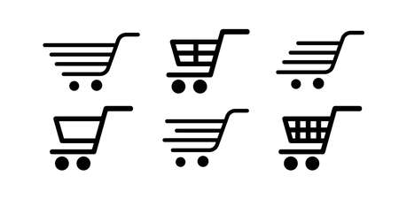 Collection of shopping trolleys, carts on white background. Vector illustration. EPS 10