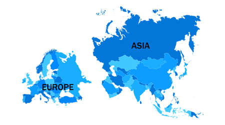 Europe and Asia territories. Vector illustration. EPS 10