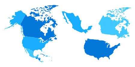 States of America territory. North America. Canada, Mexico, Alaska.