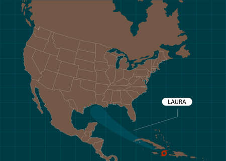 Storm Laura moves into the USA, Gulf of Mexico. World map. 일러스트