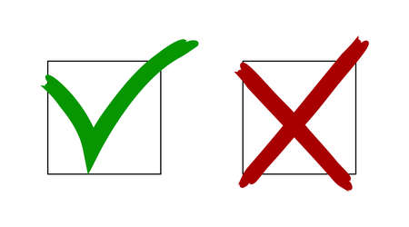 Check mark and cross mark symbols. Signs in green and red colored. Confirmation mark.