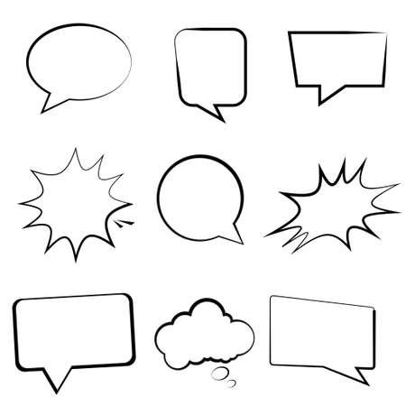 Speech bubbles and balloons. Empty comic speech bubbles. Cartoon collection. Vector illustration. EPS 10