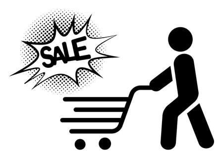 Online shopping and delivery. Shopping trolley, cart on white background. Super sale text. Simple black symbols.